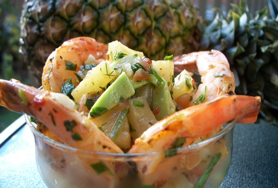 креветки с ананасом