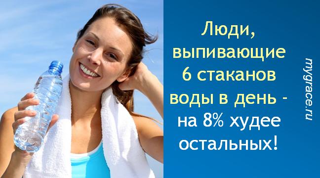Люди, выпивающие 6 стаканов воды в день - на 8% худее остальных!